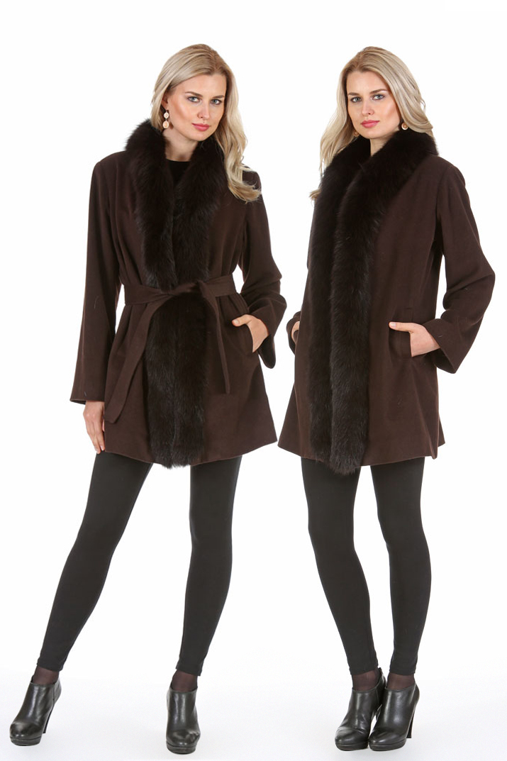 Cashmere Jacket - Fox Tuxedo Trim - Dark Brown