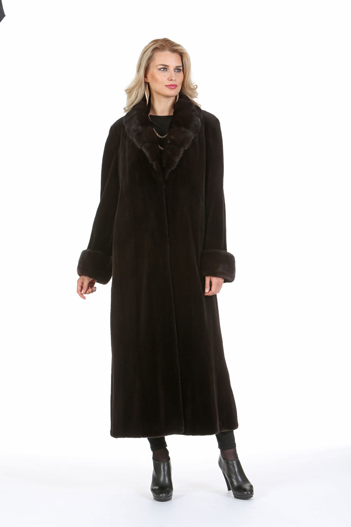 Dark Brown Sheared Mink Coat - Crosscut Mahogany Mink Collar