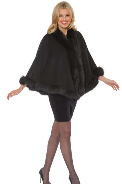 Black Cashmere Cape-Black Fox Trim Princess Style