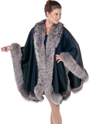 Black Cashmere Cape - Silver Fox Trim - Majestic