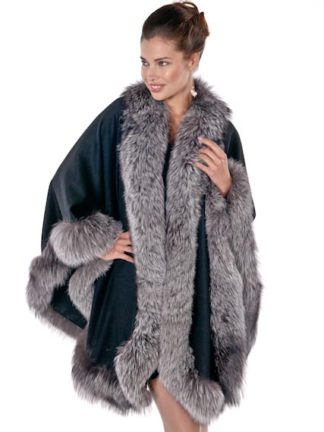Black Cashmere Cape-Silver Fox Trim Plus Size