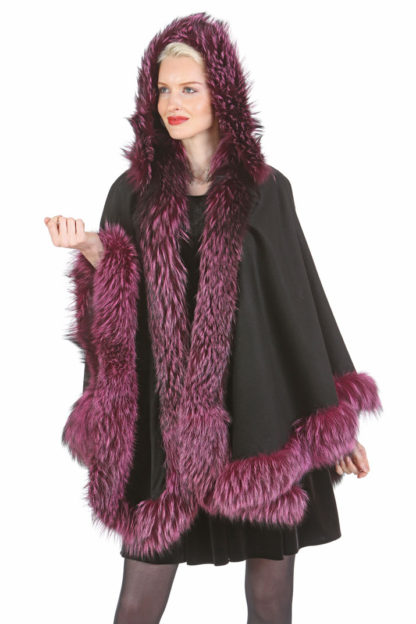Black Cashmere Cape - Amethyst Fox Trim - Detachable Hood