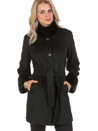 Black Cashmere Jacket - Ranch Mink Mandarin Collar and Mink Cuffs