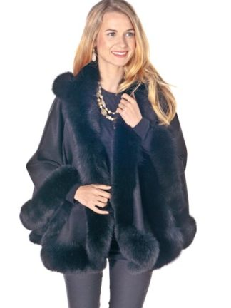 Black Cashmere Short Hooded Cape Fox Trim