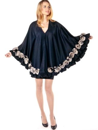 Black Cashmere Swing Cape-Chinchillette Rose Plus