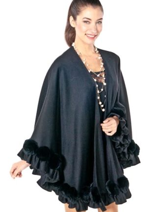 Black Cashmere Swing Cape- Rex Rosettes Plus Size