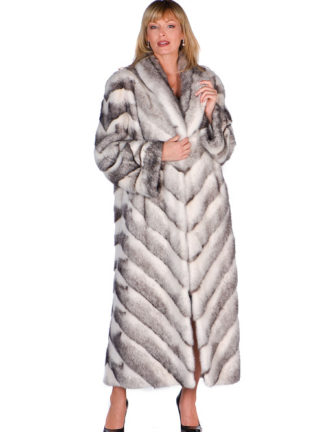 Black Cross Mink Coat -Chevron Design