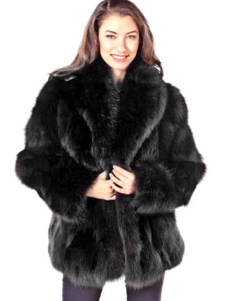 Black Fox Fur Jacket - Sculptured Fox 25