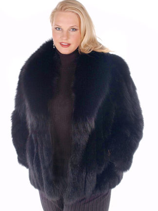 Black Fox Fur Plus Size Jacket - 25