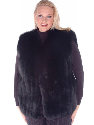 Black Fox Fur Vest - Plus Size