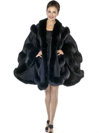 Black Fox Trimmed Plus Size Cashmere Cape-Empress