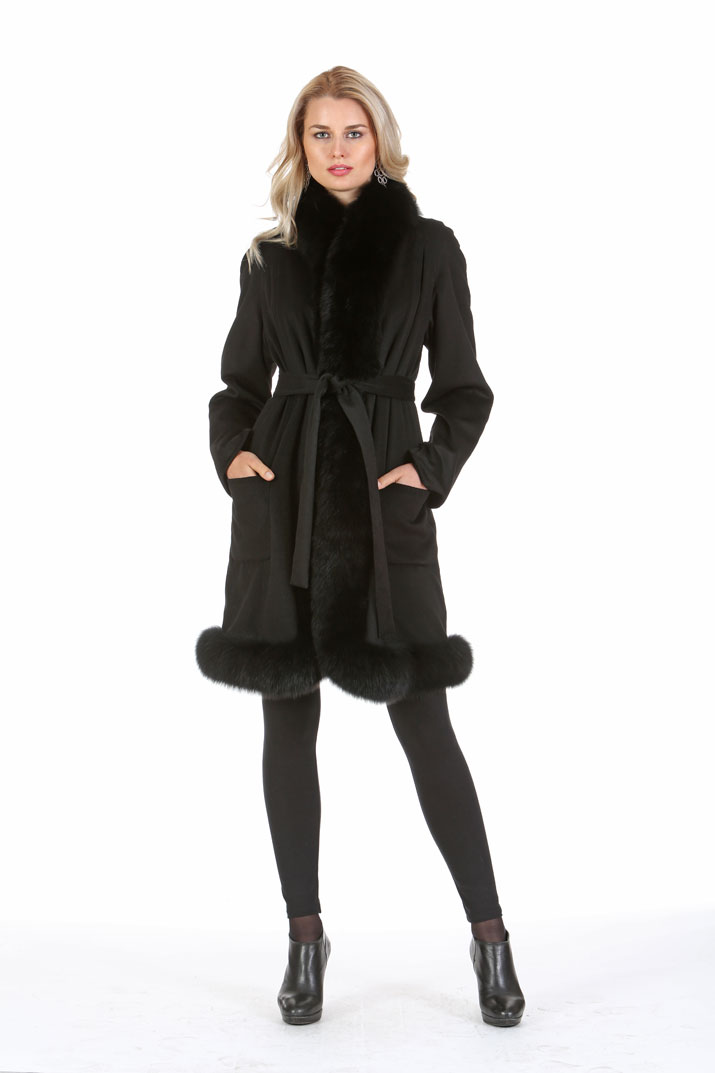 Cashmere Coat - Black Fox Trim - Tulip Hem - Plus Size