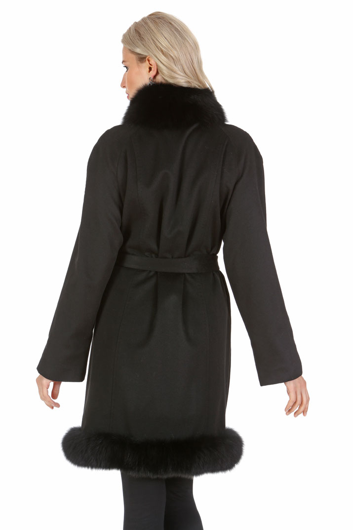 Cashmere Coat - Black Fox Trim - Tulip Hem