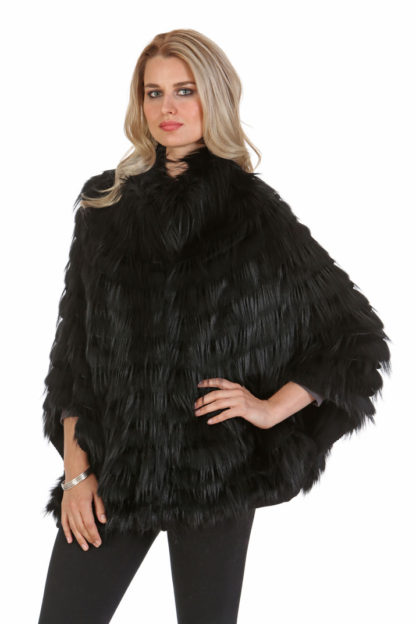 Black Fox Fur Sweater-Batwing Sleeve-Plus Size S,M,L