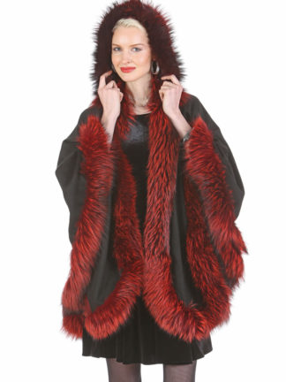 Black Cashmere Cape - Burnt Sienna Fox Trim - Detachable Hood