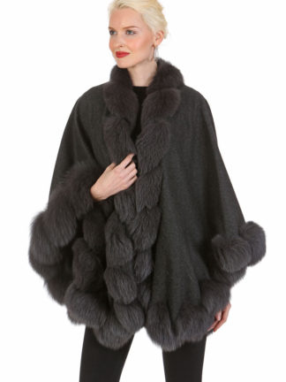 Cashmere Cape - Charcoal Grey Fox Trim - Marquessa