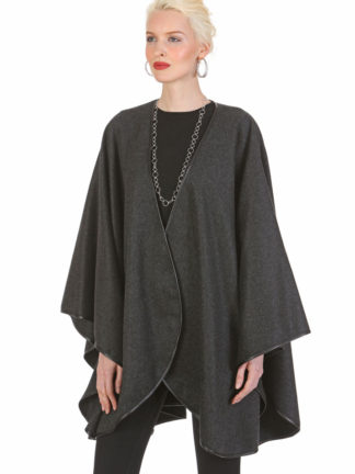 Cashmere Cape - Charcoal Gray - Leather Trimmed -Easy and Elegant