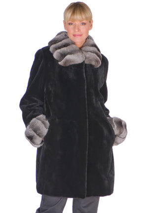 Chinchilla Collar & Cuff-Black Sheared Mink Jacket