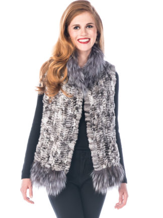 Chinchilla Knitted Vest - Silver Fox Trim
