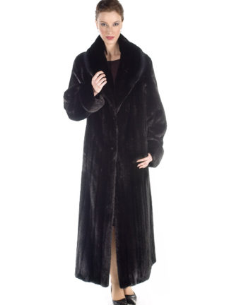 Classic Shawl Female Ranch Mink Fur Coat