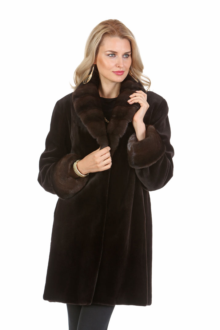 Dark Brown Sheared Mink Jacket - Crosscut Mahogany Mink Collar