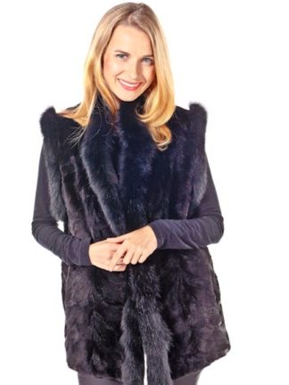 Fox Trimmed Sheared Mink Vest -Ranch Mink