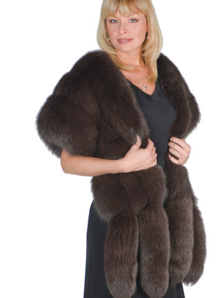 Fur Cape - Brown Fox Fur Wrap with Double Fox Trim