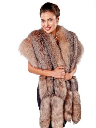 Fur Cape - Crystal Fox Wrap with Double Fox Trim