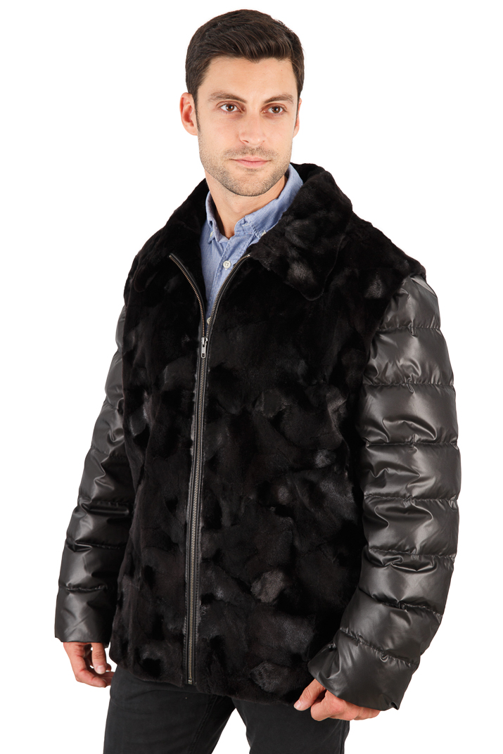 Men's Sculptured Mink Jacket - Quilted Sleeves - Convertible Men's Vest