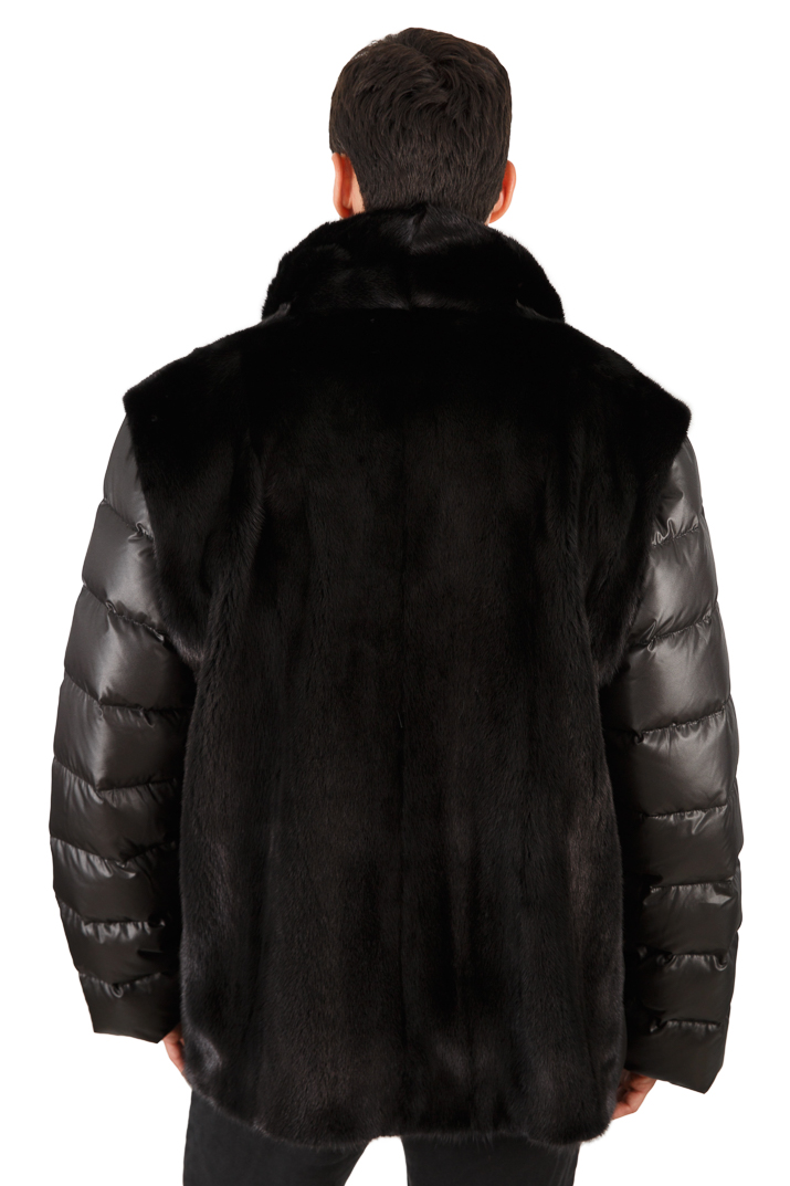 Men's Ranch Mink Jacket - Quilted Sleeves - Men's Mink Vest