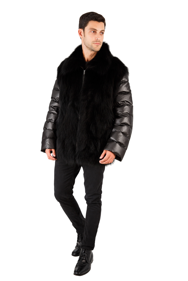 Mens Black Fox Jacket - Quilted Sleeves - Mens Black Fox Vest