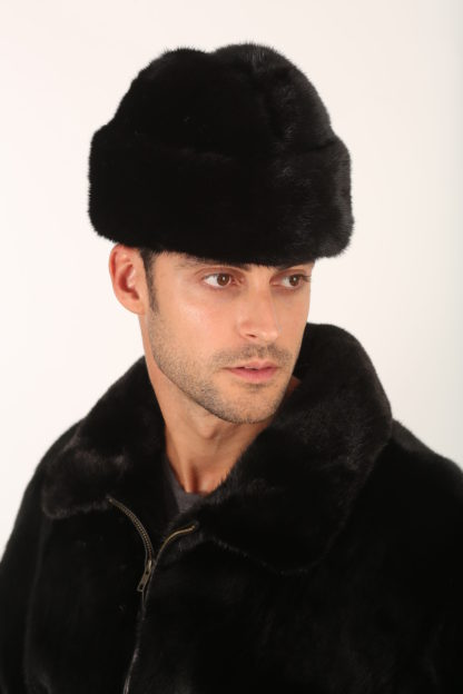 Mens Fur Hat-Mens Mink Army Cap