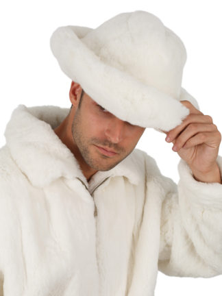 White Mens Fedora - White Fur Hat for Men