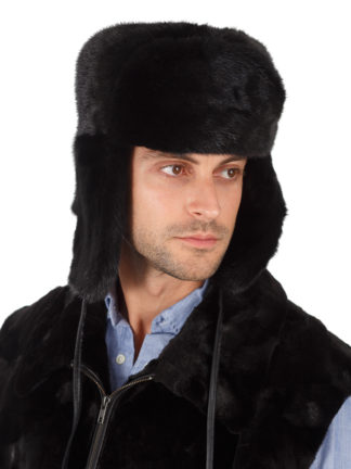 Men's Fur Mink Trooper Hat - Ranch Black Mink