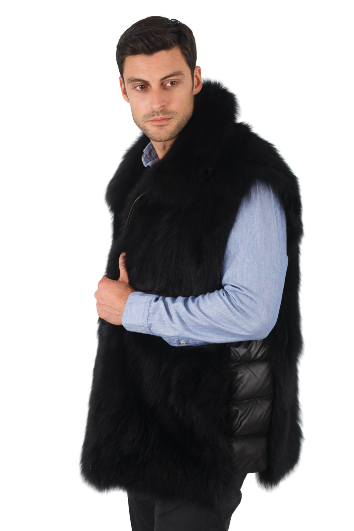 Mens Black Fox Vest - Quilted Sides Panels - Mens Black Fox Jacket