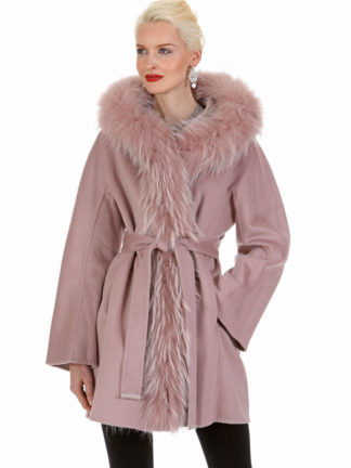 Guy Laroche Cashmere Coat Jacket - Reversible Hazy Pink to Morning Beige