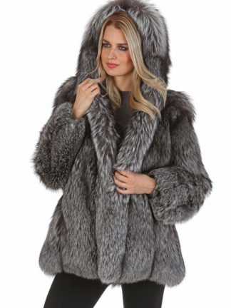 Hooded Silver Fox Jacket - Natural Silver Fox