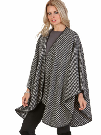 Cashmere Cape - Houndstooth - Leather Trimmed - Easy and Elegant