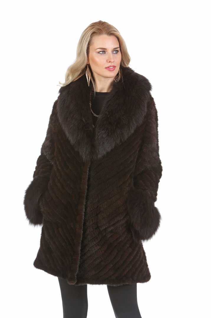 Knitted Fur Mink Jacket - Mahogany Mink Fox Collar
