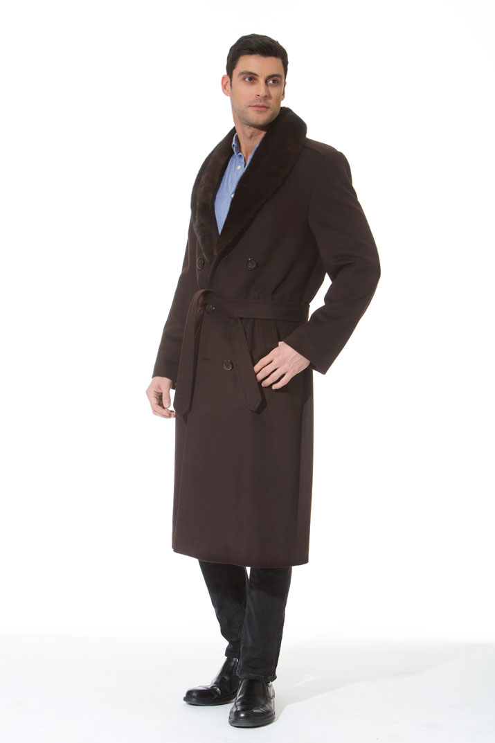 Men's Cashmere Coat - Mink Collar - Dark Brown - The Baron
