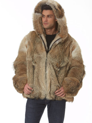Coyote Mens Hooded Parka Jacket - Natural Coyote