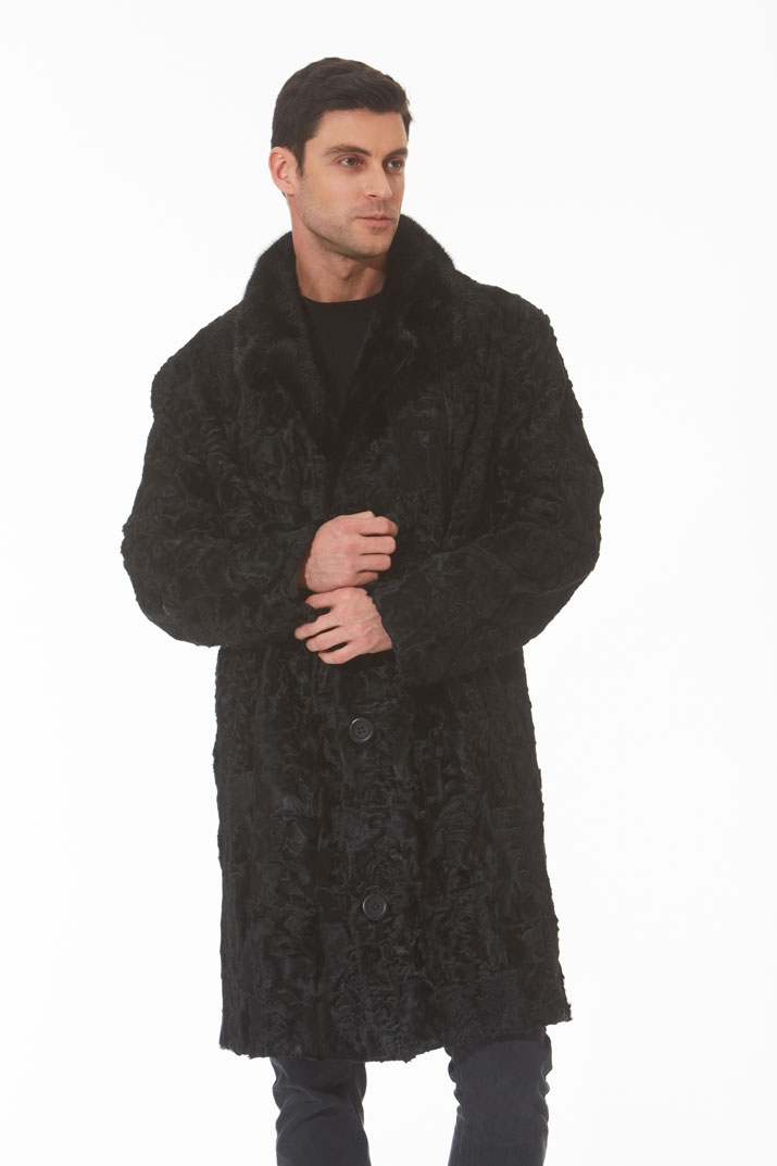 Men's Black Swakara Fur Coat - Mink Collar