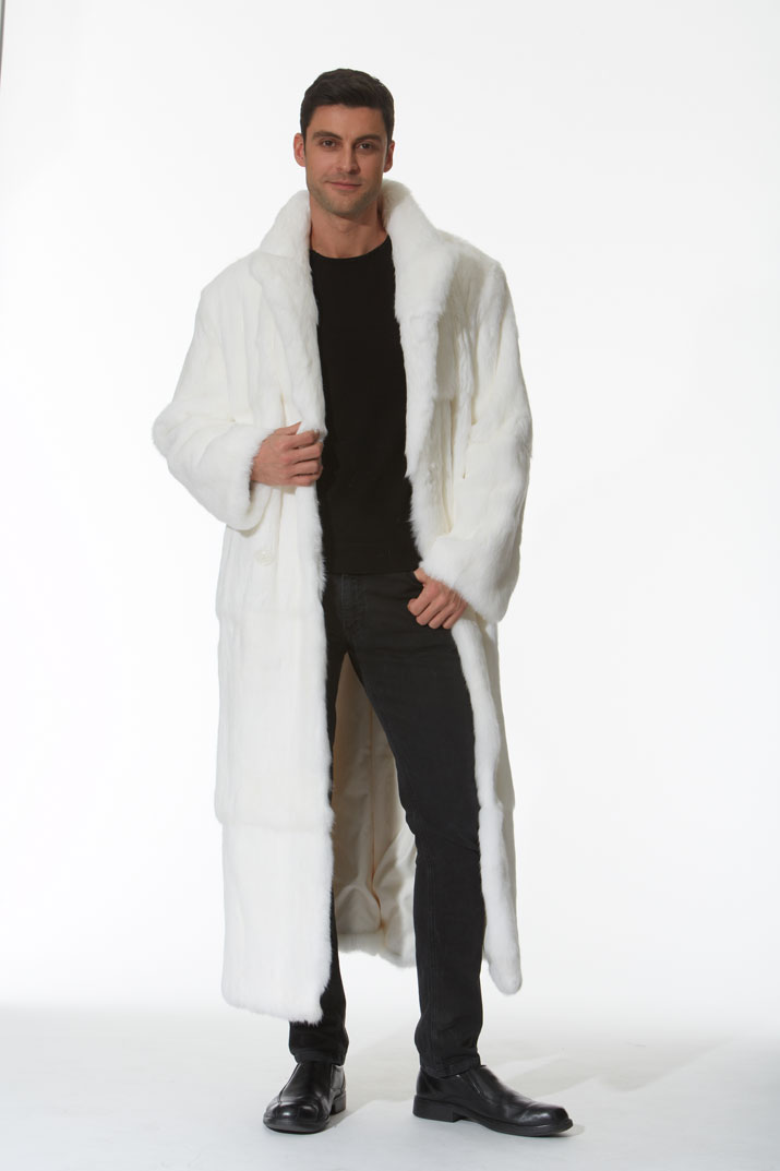 Men's White Fur Coat - Natural White Rabbit -Double Breasted