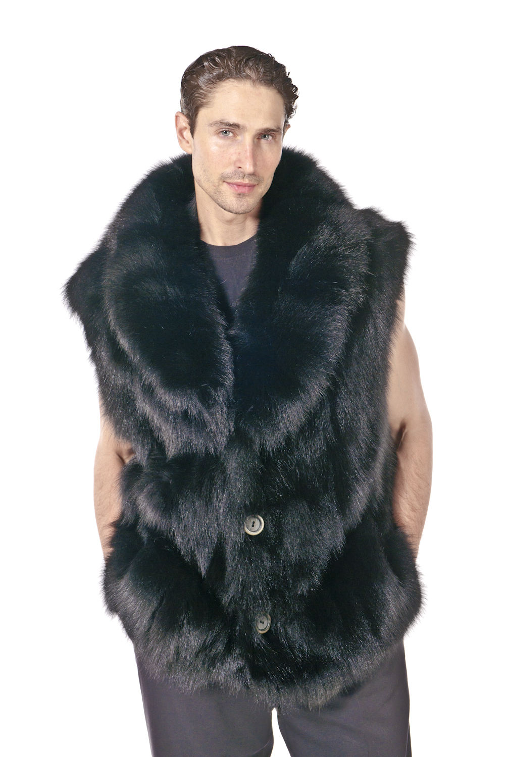0526dd783d Mens Fox Vest- Sculptured Black Fox – ffcollections