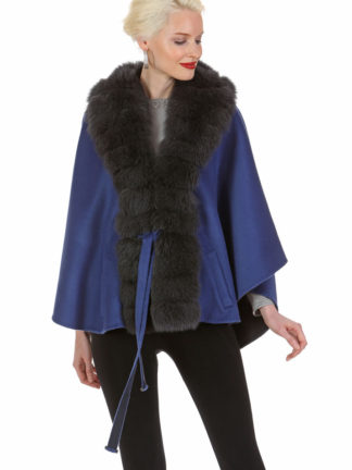 Guy Laroche - Cashmere Cape - Mercury Grey - Royal Blue