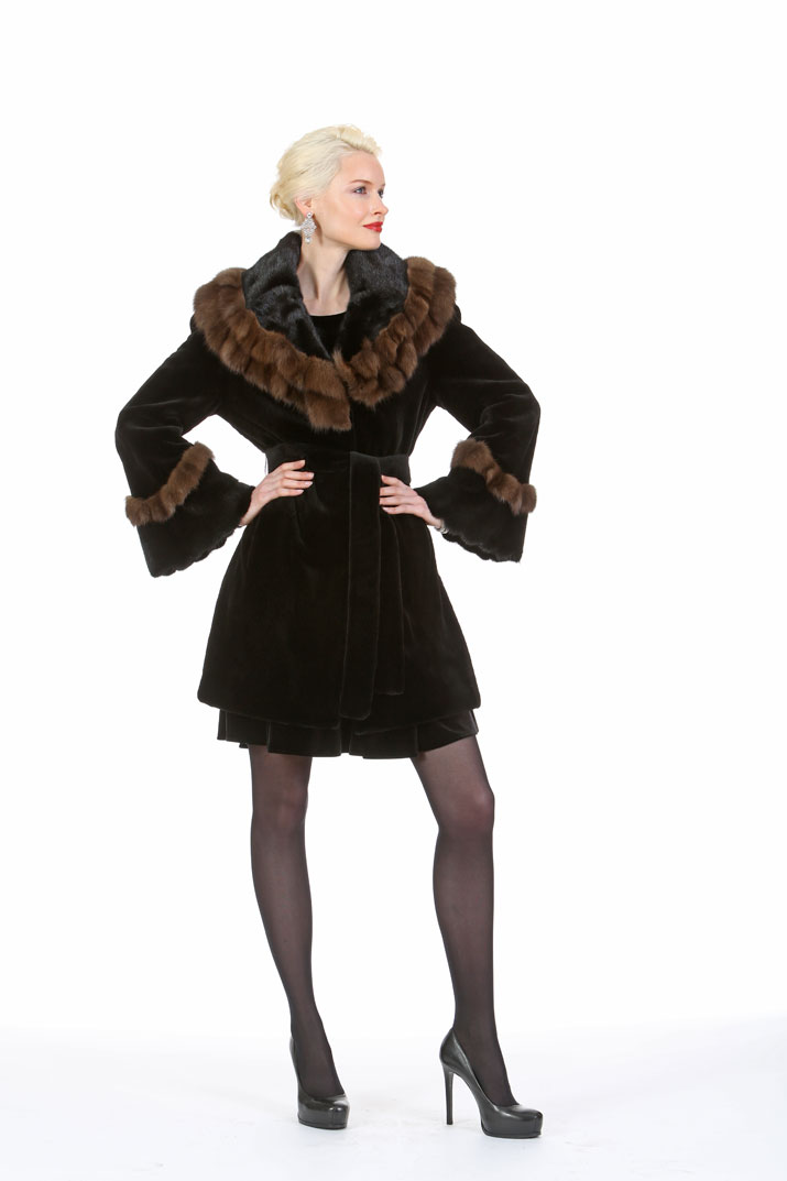 Sheared Mink Jacket – Sable Ruffled Cape Collar – The Czarina