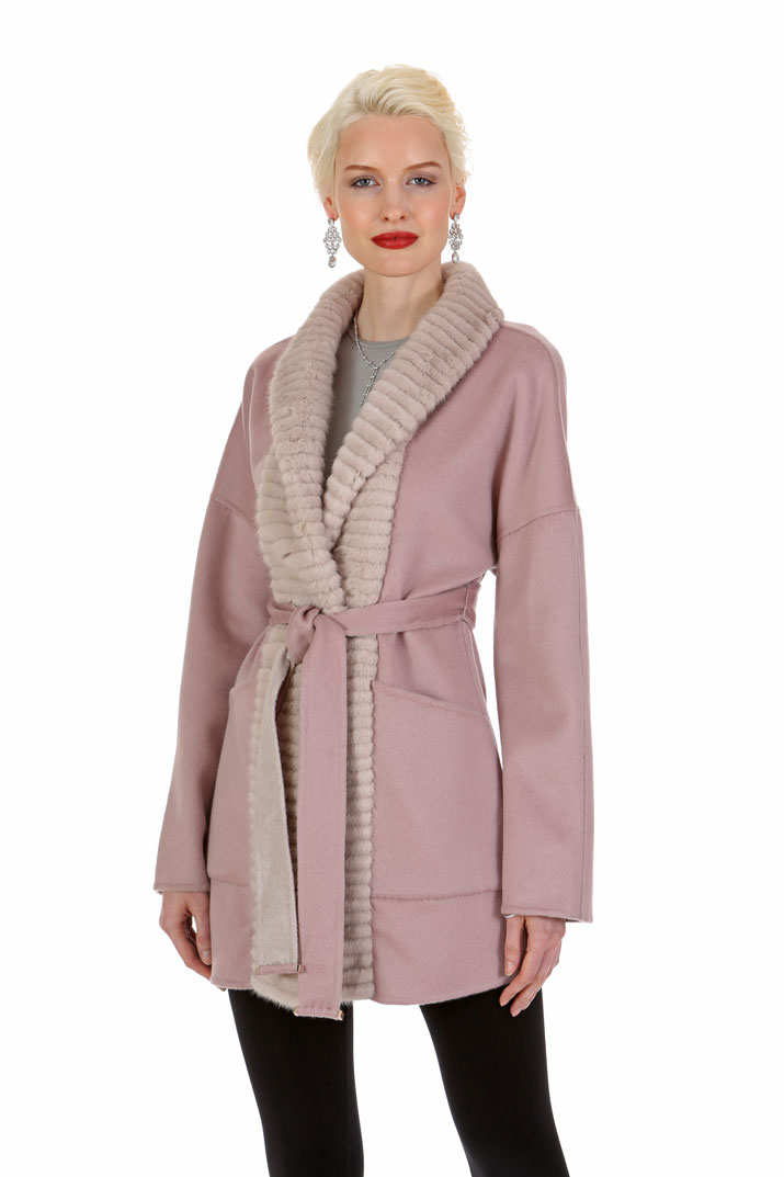 Guy Laroche Cashmere and Mink Jacket - Hazy Pink Reversible to Morning Beige
