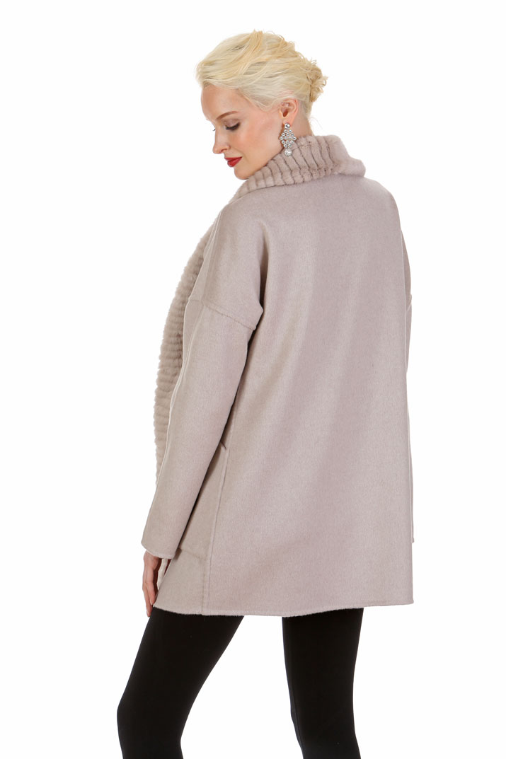 Guy Laroche Cashmere and Mink Jacket - Morning Beige Reversible to Hazy Pink