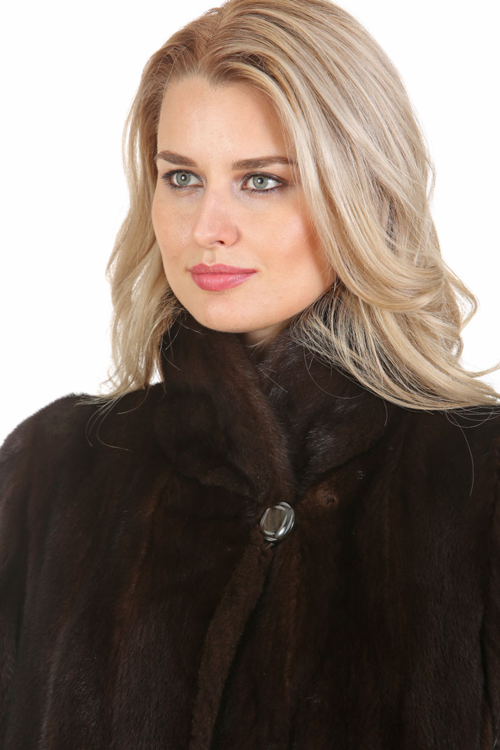 Mahogany Mink Jacket- Walking Coat - Modified Shawl Collar
