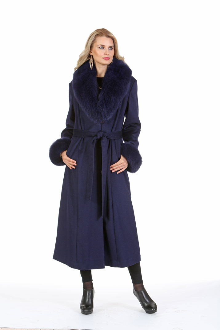 Navy Cashmere Coat - Navy Fox Collar and Cuffs - Plus Size